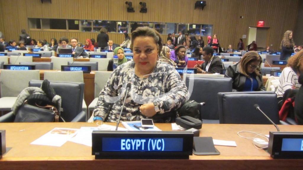 الدكتورة هبة هجرس اثناء مشاركتها فى اجتمعات الامم المتحدة الستين حول المراة