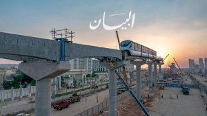 وزارة النقل تشارك المواطنين الإحتفال بذكرى نصر أكتوبر من خلال تثيبت أول قطار مونوريل على مساره (العاصمة الادارية)