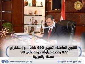 القوي العاملة : تعيين 690 شاباً .. وإستخراج 877 رخصة مزاولة حرفة على 90 مهنة بالغربية ...