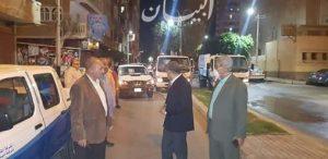 محافظ المنيا يتابع رش وتطهير عدد من الشوارع والمباني وقت الحظر