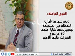 """القوي العاملة : 200 شهادة """"أمان"""" للعمالة غير المنتظمة وتعيين 282 شاباً بالبحر الأحمر"""