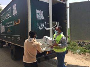 مصر الخير توزع شنط حماية طبية وكراتين مواد غذائية العاملين بمصانع أبيس السجاد والكليم