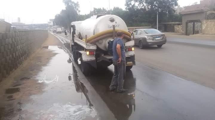 رفع كفاءة طريق مصر اسكندرية الصحراوي بعد ازالة اثارالامطار